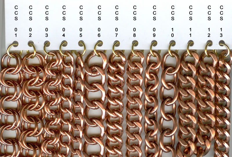 Golden chain curtain samples in different sizes.