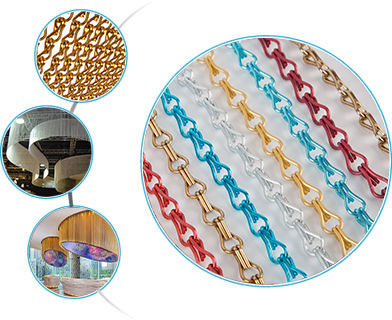 Four pictures to show the details and application about chain link curtain and chain curtain.