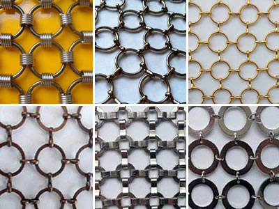 Six different kinds of ring mesh curtain.
