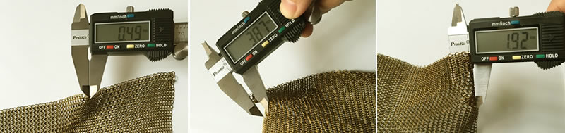 Use the calipers to measure wire diameter, diameter of outer rings, thickness of golden chainmail curtain.