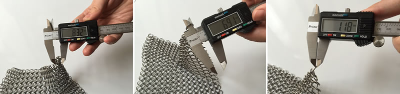 Measurements about the wire diameter, inner diameter, diameter of outer rings of chainmail curtain in natural color.