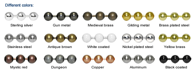 A color list of metal bead curtain, it contains silver, golden, white, black, copper, aluminum, nickel plated and other eight colors.