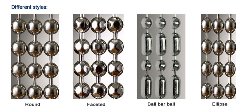 Metal bead curtain can be made into round, faceted, ball bar ball and ellipse.