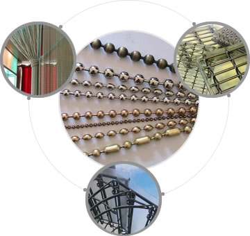 Four pictures about different styles and applications of metal bead curtain and wired glass.