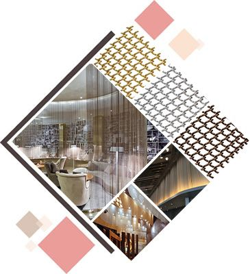Six pictures about metal coil curtain samples and honeycomb decoration mesh samples as well as their applications in our daily life.