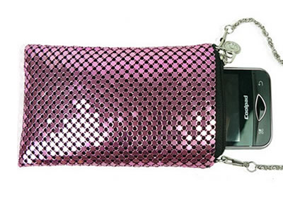 Pink scale mesh curtain can be made into shinning wallet and a mobile phone is in it.