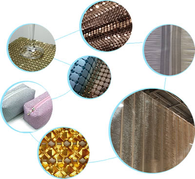 Seven pictures about details and applications of scale mesh curtain and special metal curtain.
