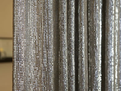 A Part Of Silver Scale Mesh Curtain.