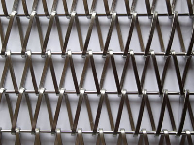 A part of stainless steel wire mesh belt with straight rod on the white background.
