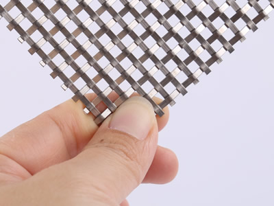 Flat wire woven wire curtain sample.
