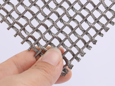 This piece of woven wire drapery sample is woven by thin stainless steel rods and one strand stainless steel wire rope.