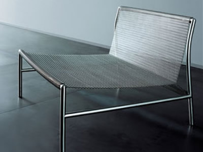 A stainless steel chair, and its seat and back side is made of wire mesh belt.