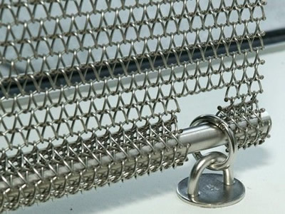 Details about wire mesh belt installs on the stainless steel rod.