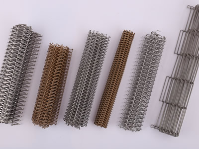 Six kinds of wire mesh belt, wire mesh belt with flat wires or round wires, and in metallic color or copper color.