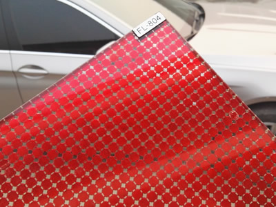 Red scale mesh curtain laminates glass with label FL-804.