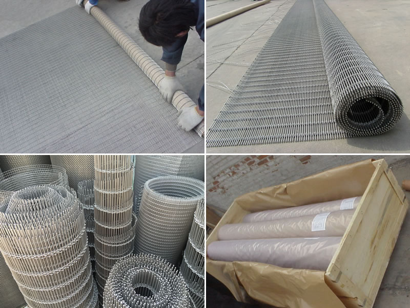Woven wire curtain rolls package details.