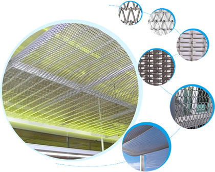 Seven pictures showing about details and applications of woven wire drapery and wire mesh belt.